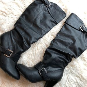Black Chunky Heel Slouchy Boots with Buckle